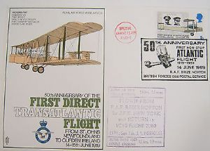 RAF Flown Cover 1st Series SC9 50 Ann First Direct Transatlantic Flight 1969